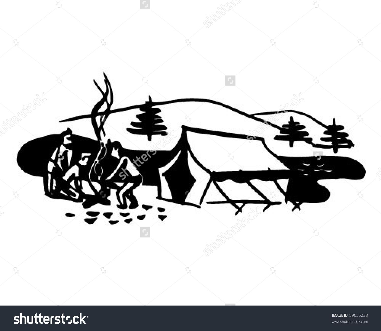 Boys Starting Campfire Retro Clip Art Stock Vector 59655238.