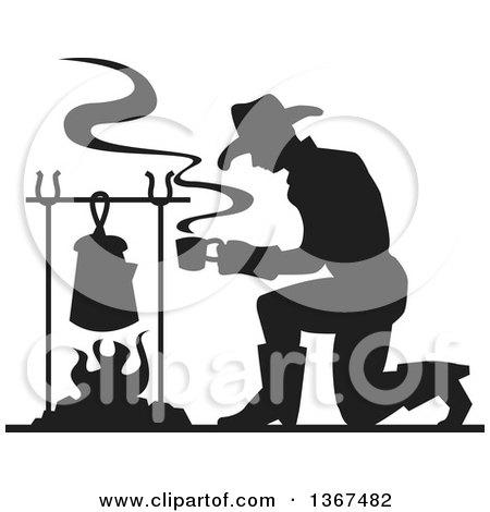 Clipart of a Cartoon Smoking Camp Fire.