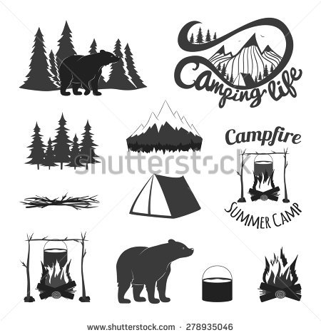 Camp Fire Silhouette Stock Images, Royalty.