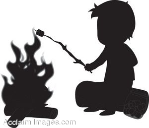 Royalty Free Clipart Illustration of a Silhouette of a Boy.