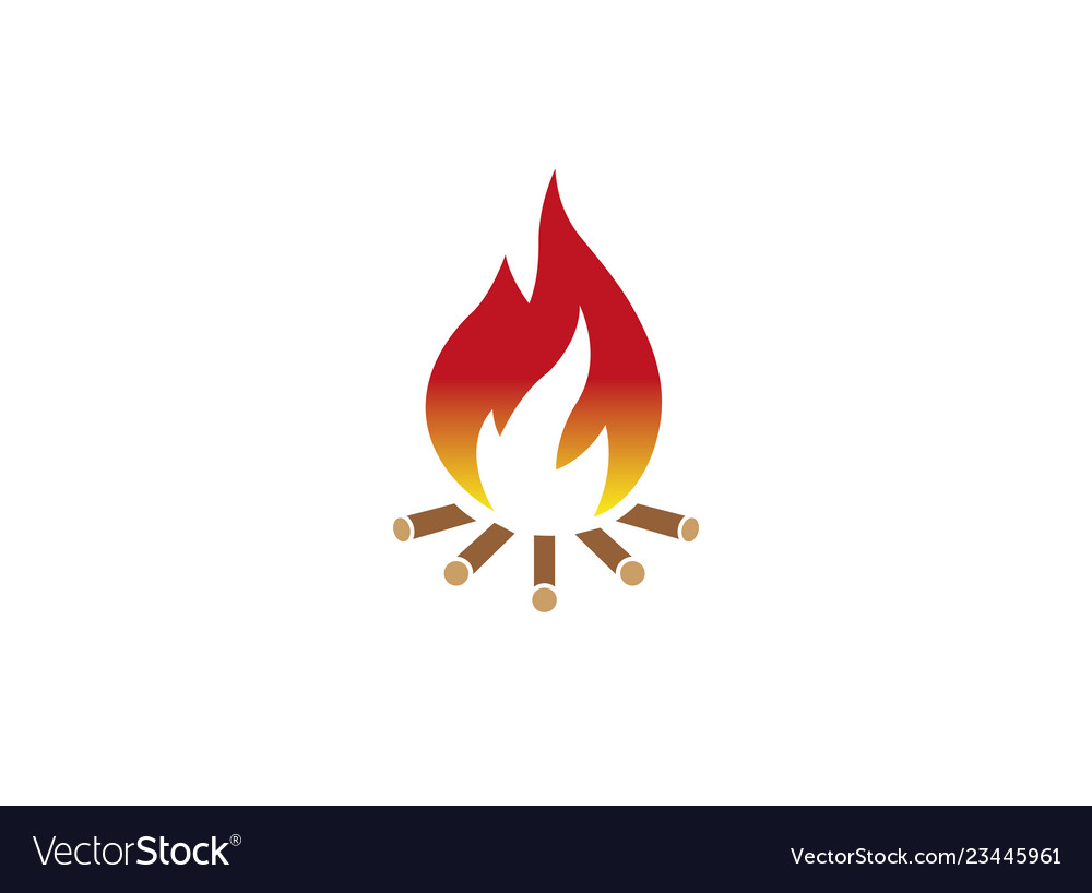Fire wood burning campfire for logo design.