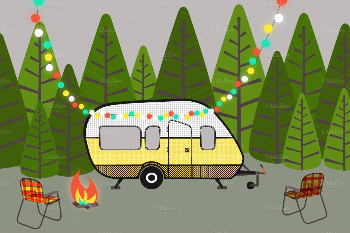 Campground And Rv Park Clipart.