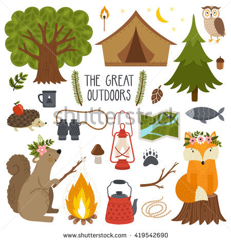 Set Cute Animals Camping Equipment Stock Vector 419542690