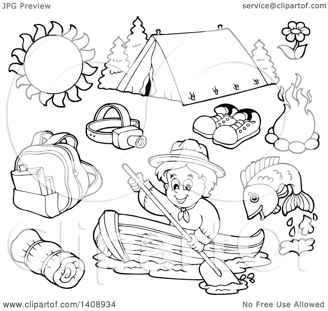 Clipart of a Black and White Lineart Scout and Camping Gear.