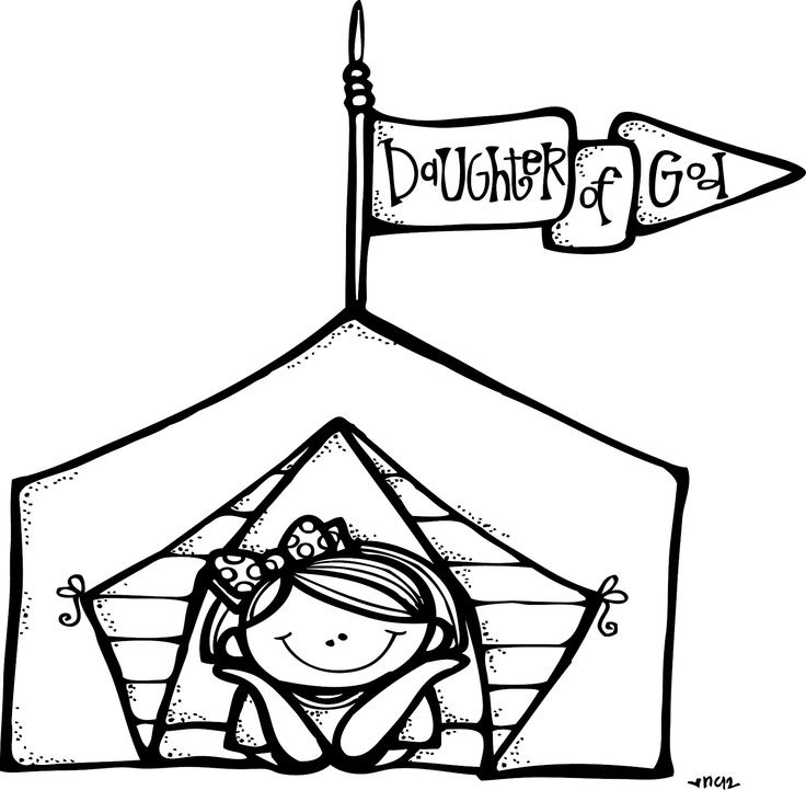 Black And White Camping Clipart.