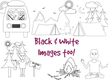 Camping Clipart Black & White Images. Good Outdoor and Field trip Worksheet..