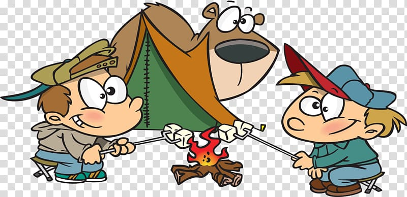 S\\\'more Camping Cartoon , campsite transparent background.
