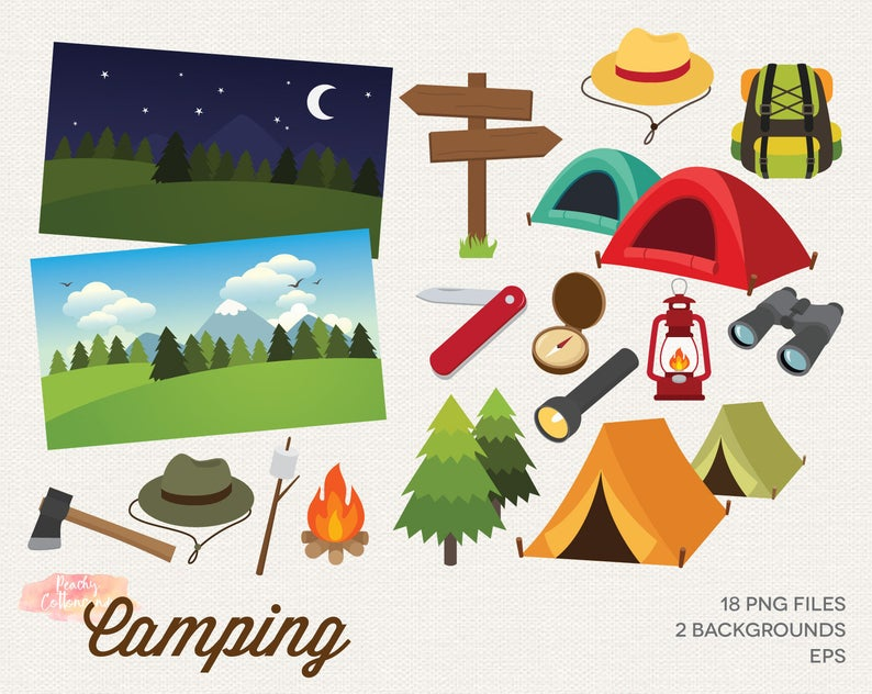 BUY 2 GET 1 FREE Camping Clipart.