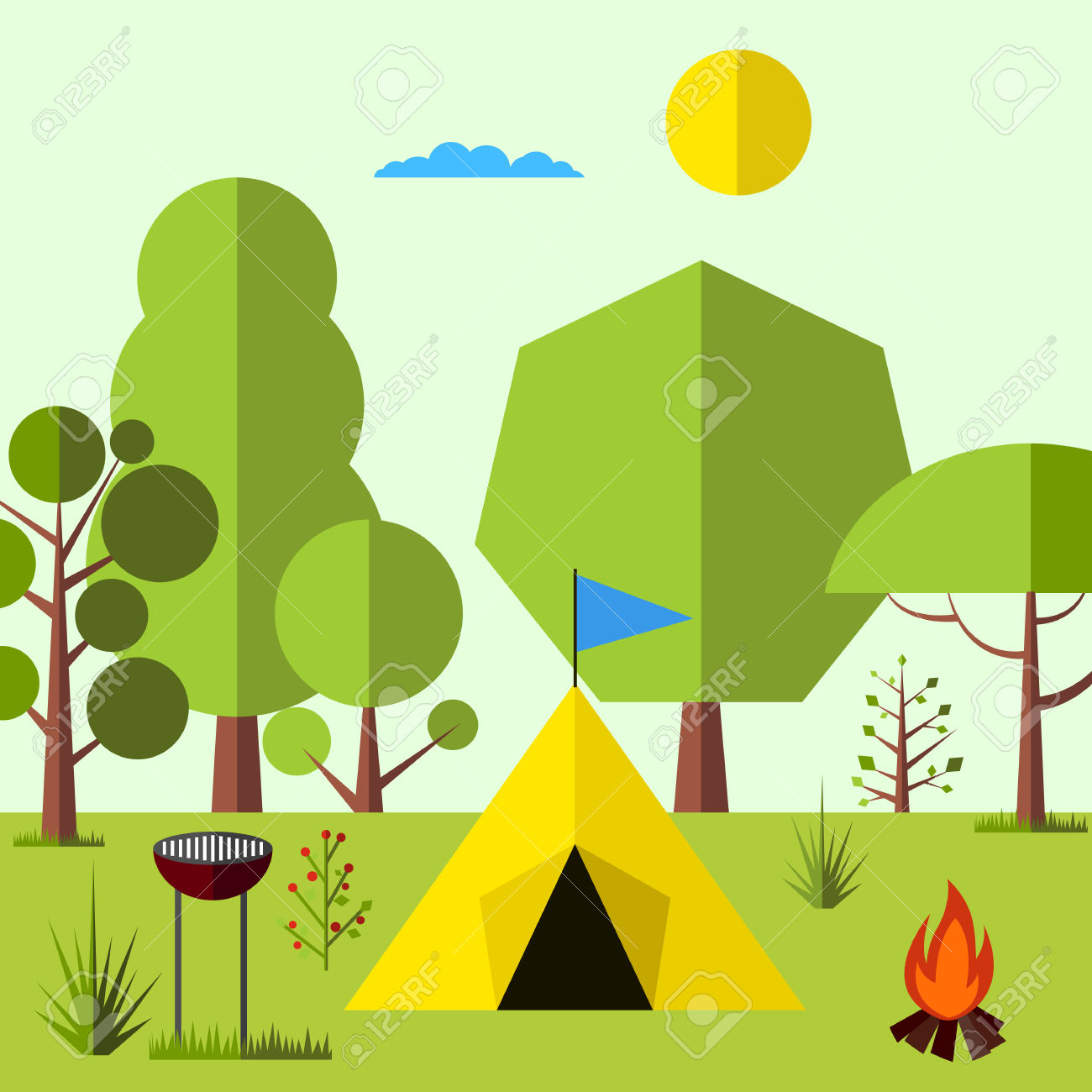Camping In The Woods Flat Background. Simple And Cute Landscape.