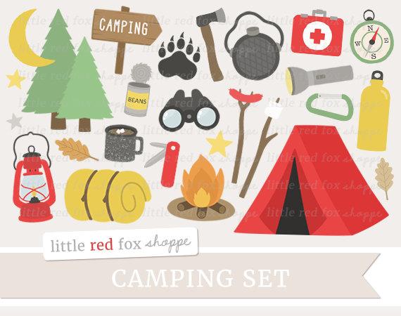 Camping Clipart Tent Clip Art Campfire by LittleRedFoxShoppe.
