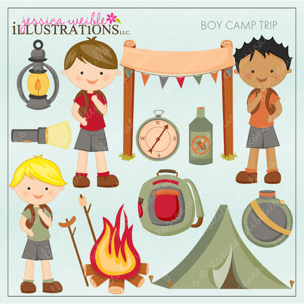 Boy Camp Trip Cute Digital Clipart, Camping Clip Art, Tent.