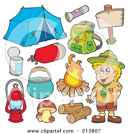 Digital Collage Of A Camper And Camping Gear By Visekart Clip Art