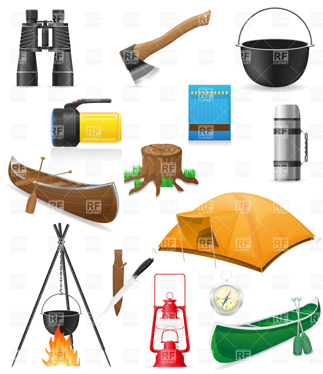 Camping equipment and outdoor hiking objects Vector Image #19752.