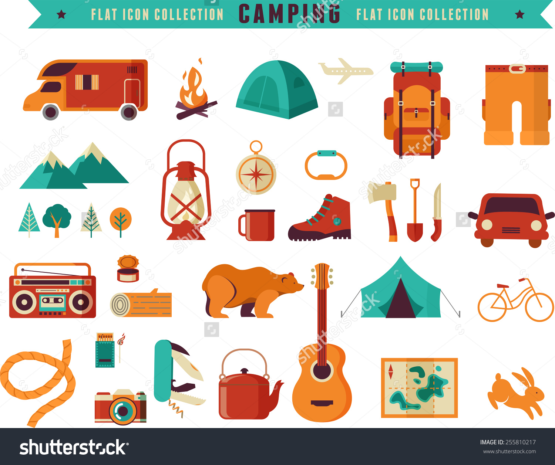 Hiking Mountain Climbing Camping Equipment Icon Stock Vector.