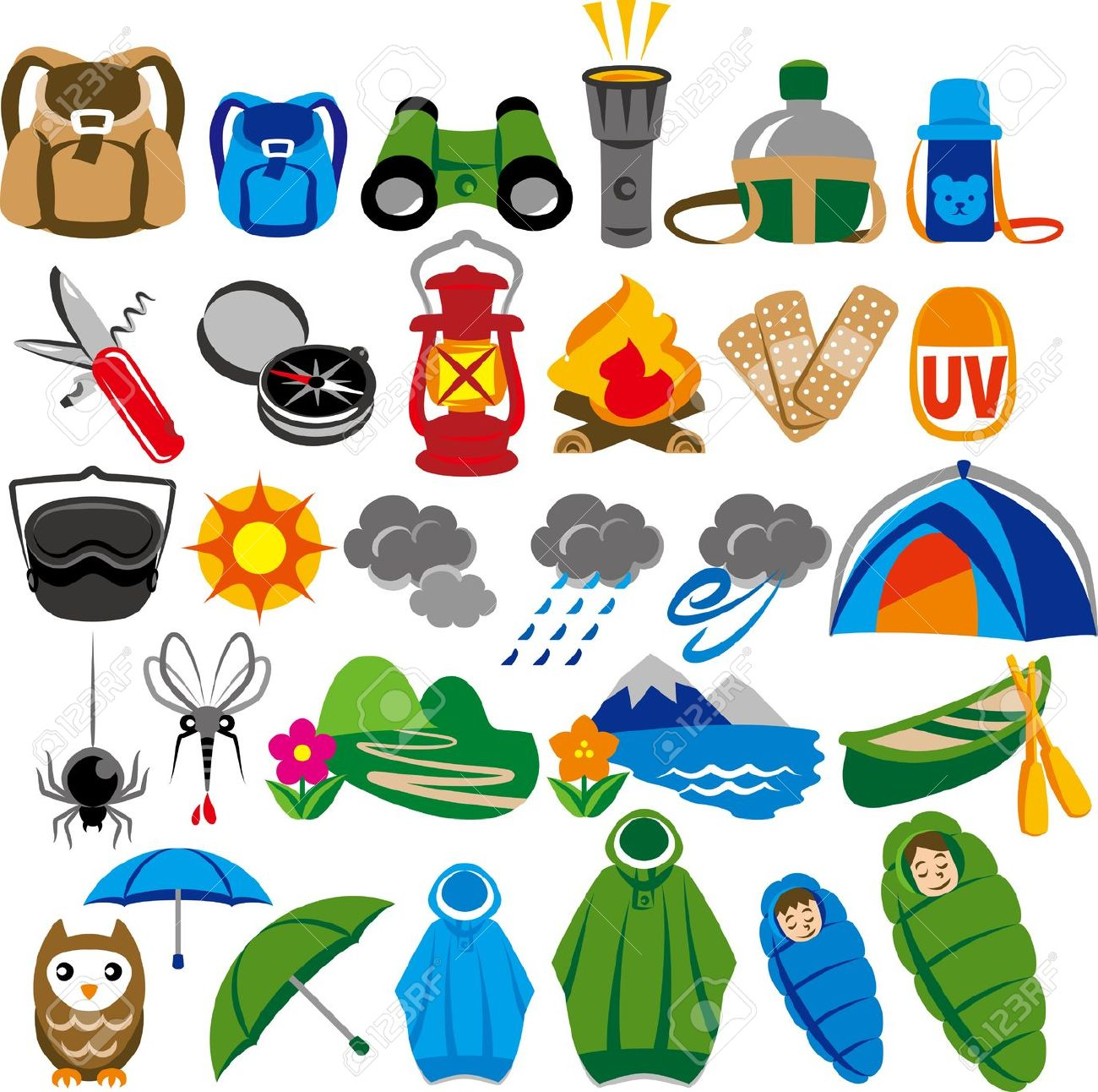 Camping gear clipart.
