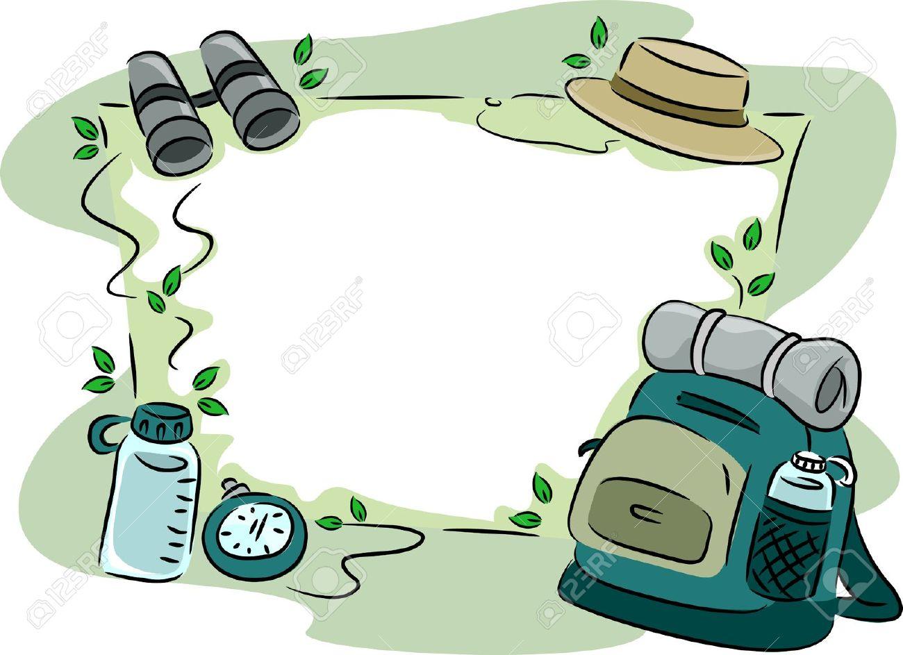 Background Illustration Featuring Camping Gear Stock Photo.
