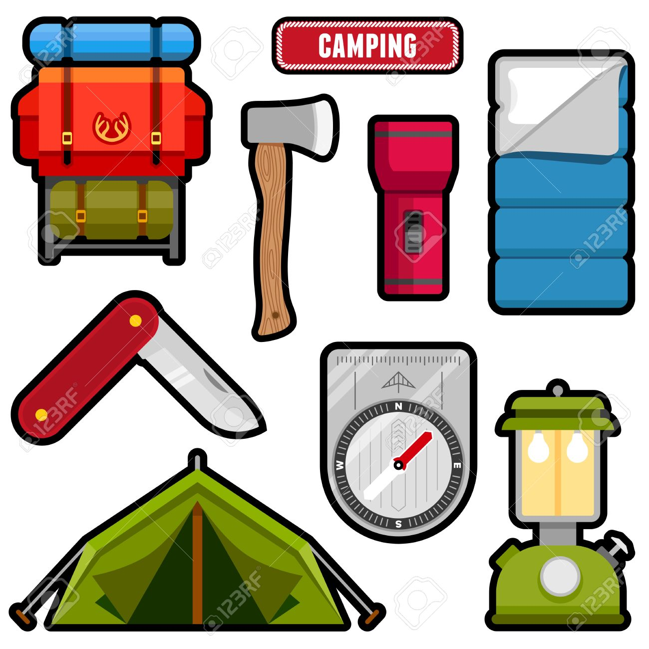 Camping equipment clipart #8