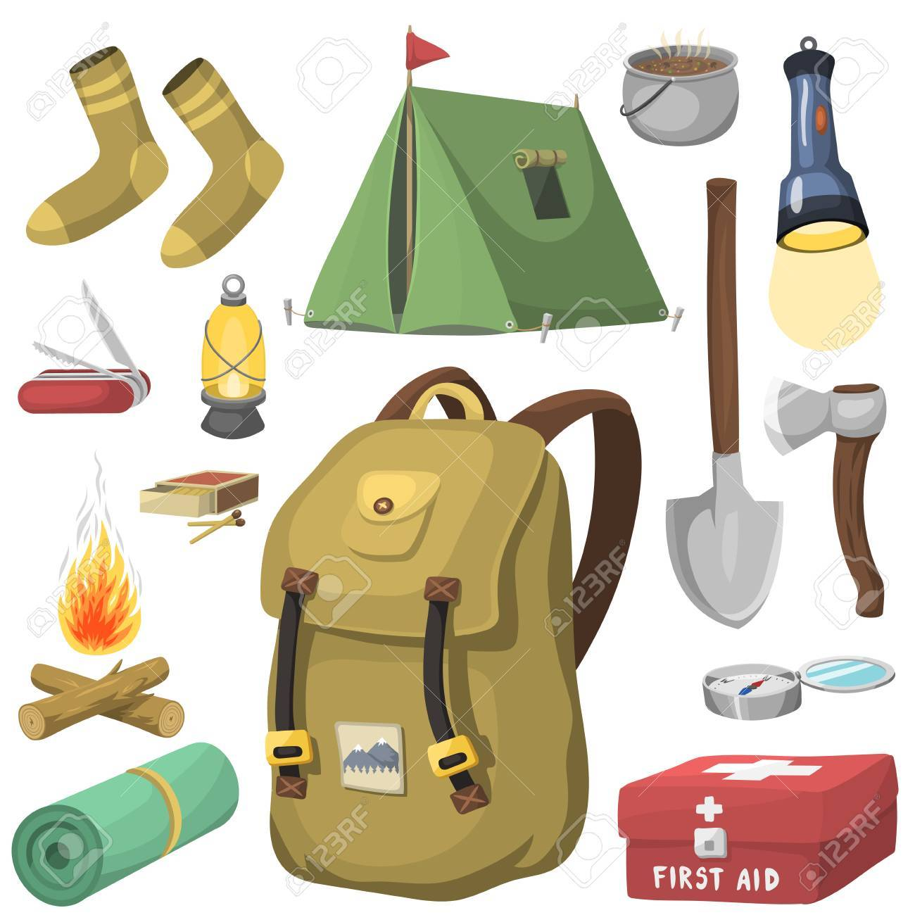 Hiking camping equipment base camp gear and accessories outdoor.