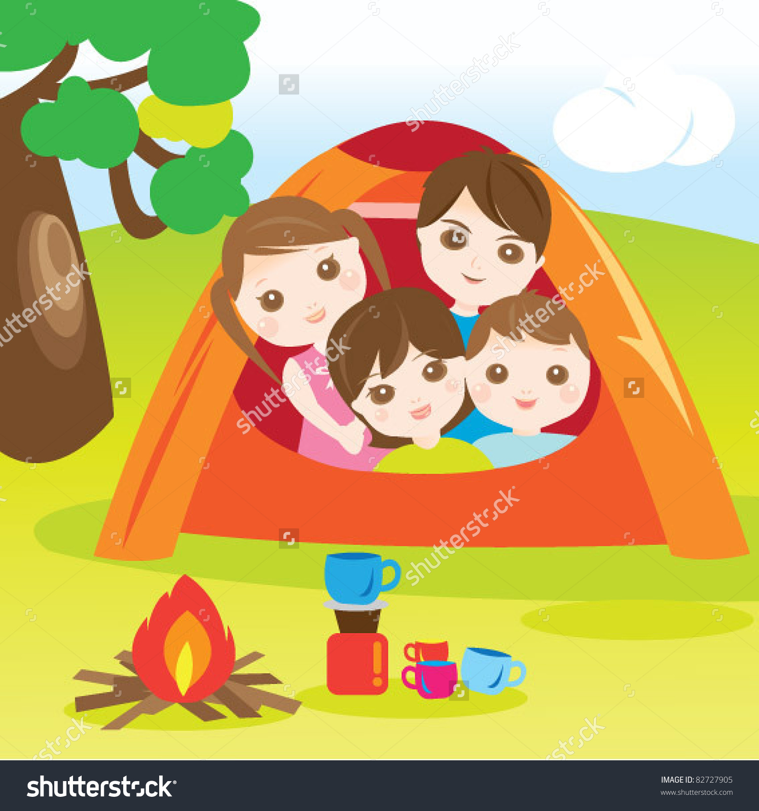Family Go Camping Holidays Stock Vector 82727905