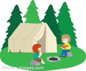 Clip Art Of A Couple Of Girls Camping.
