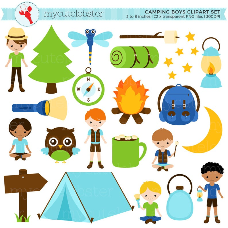 Camping Boys Clipart Set.