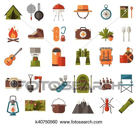 Camping Vector Icons Clipart.