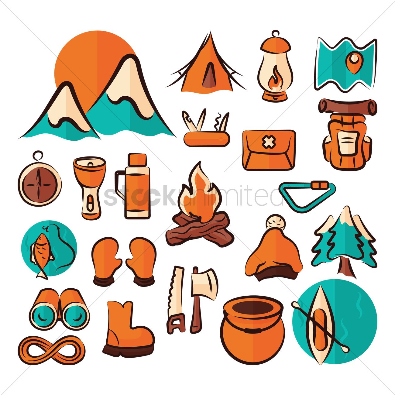 Set of camping equipment Vector Image.