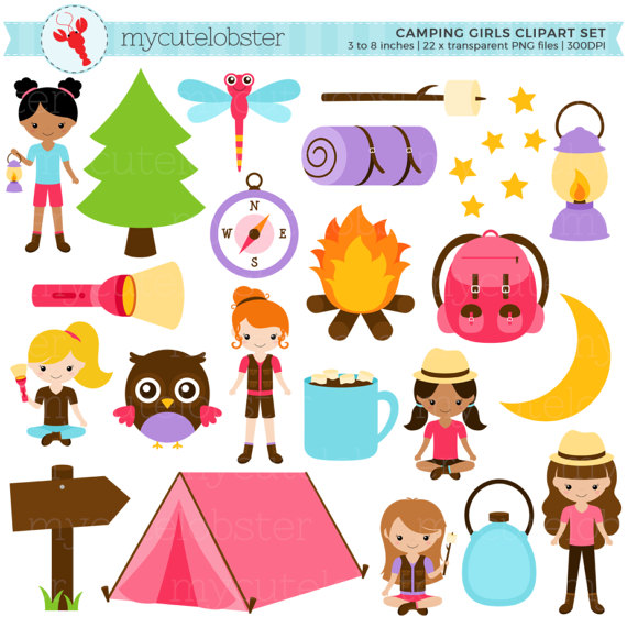 Camping Girls Clipart Set.