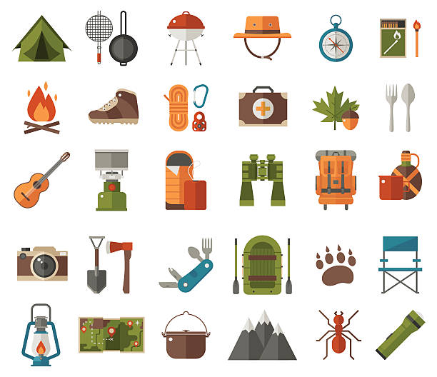 Best Camping Gear Illustrations, Royalty.