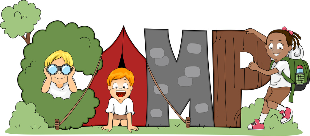 Camping clipart children' pencil and in color camping.