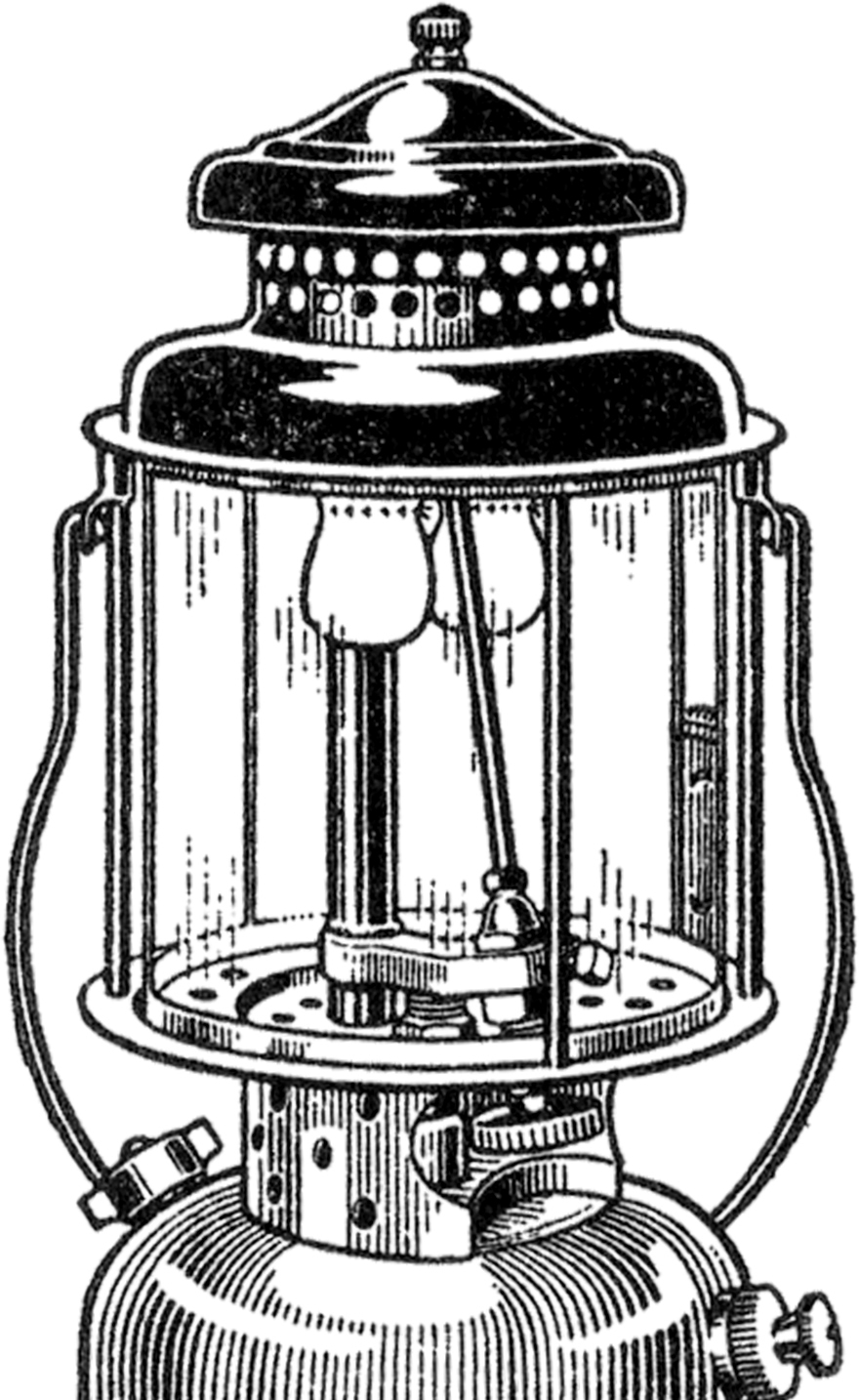 Camping lantern clipart black and white.