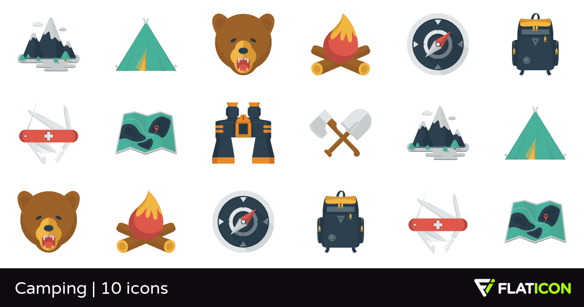 Camping 10 free icons (SVG, EPS, PSD, PNG files).