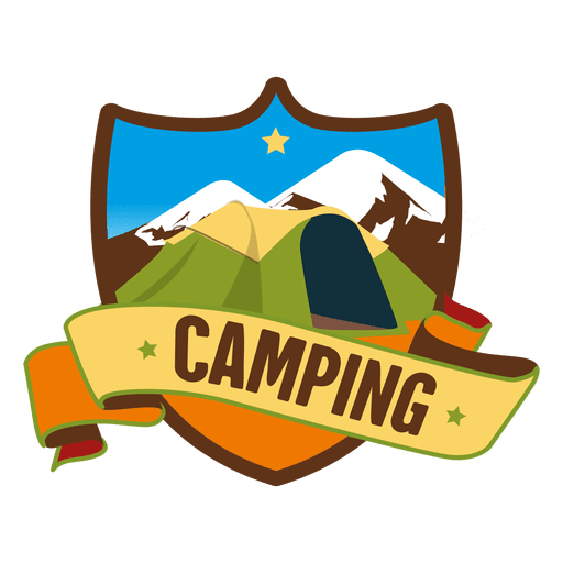 Shield camping retro badge.