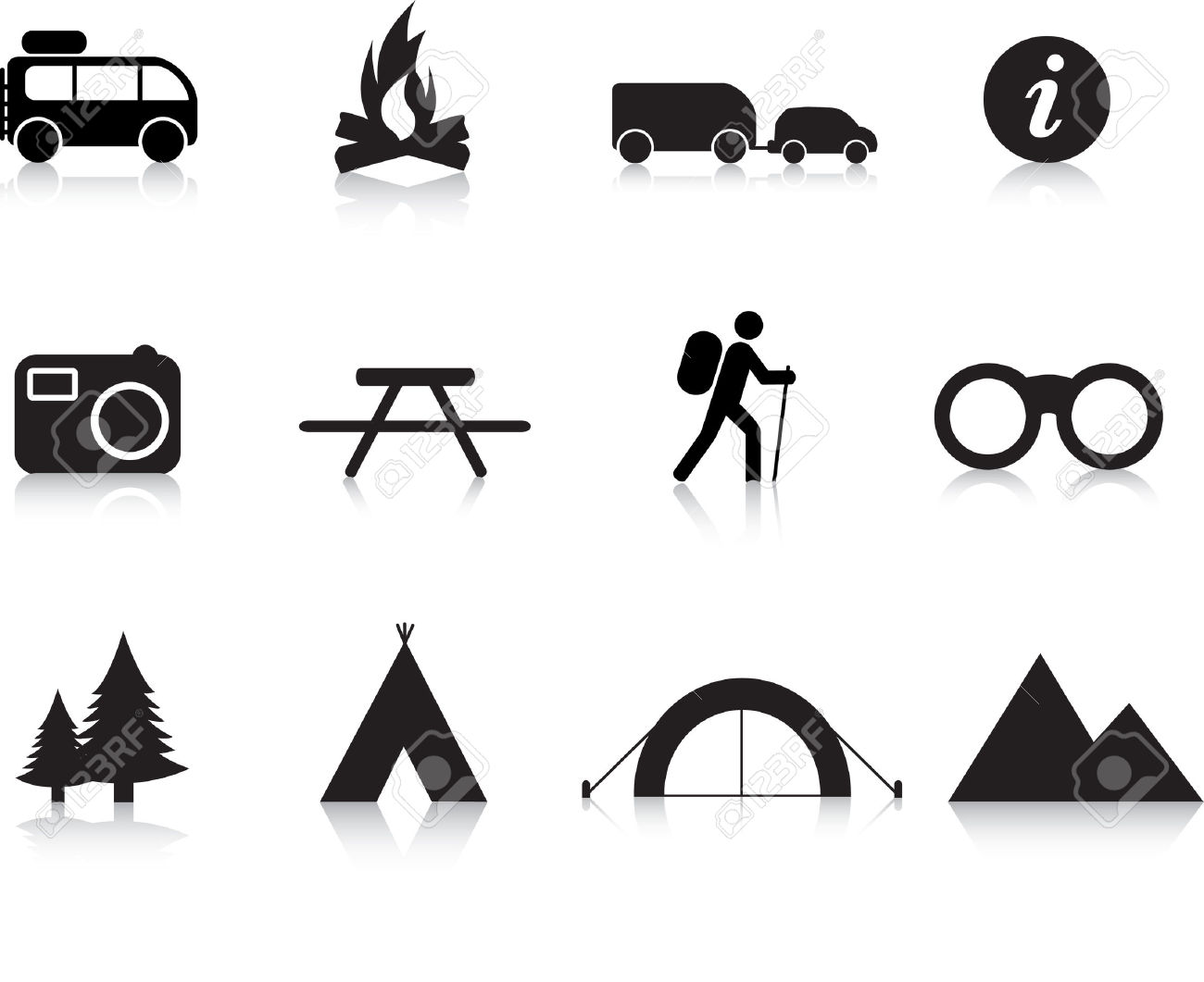 Camping And Outdoor Simple Silhouette Illustration Set Royalty.