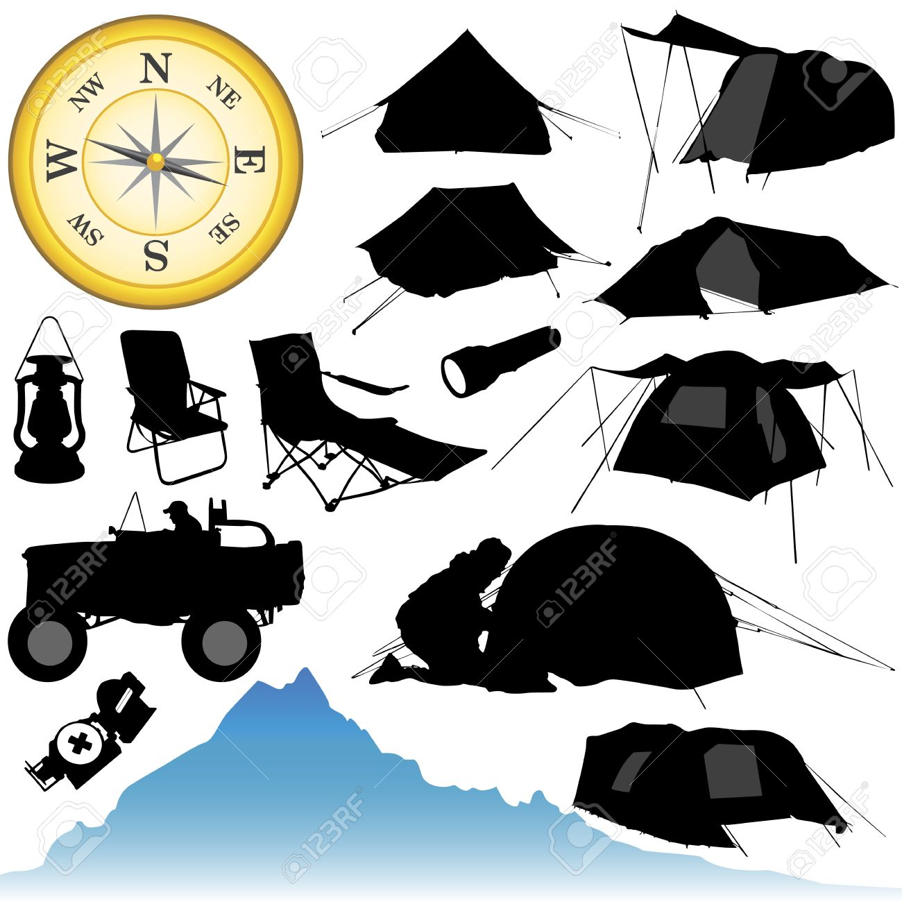Camping And Equipments Royalty Free Cliparts, Vectors, And Stock.