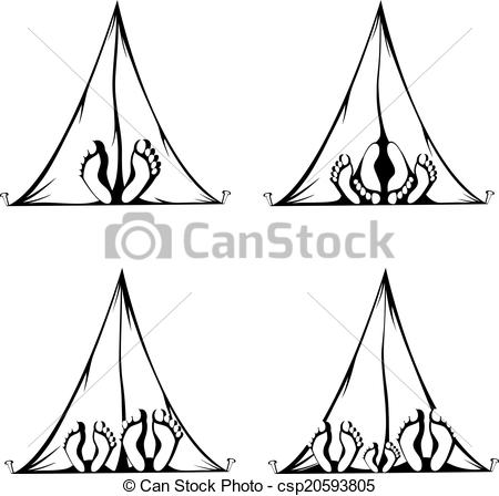 Vector Clipart of Funny Camping.