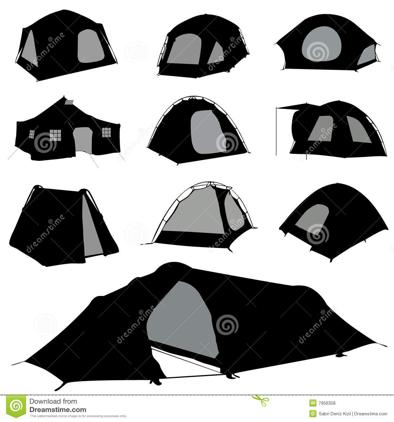 Camping Silhouette Stock Illustrations.