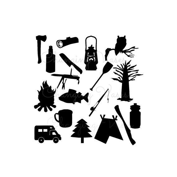 Digital Download Illustration Camping Silhouette Graphics.