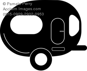 Clip Art Illustration of a Camp Trailer Silhouette Icon.