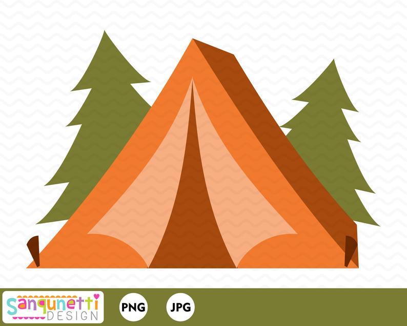 Camping tent clipart, summer woodland digital art.