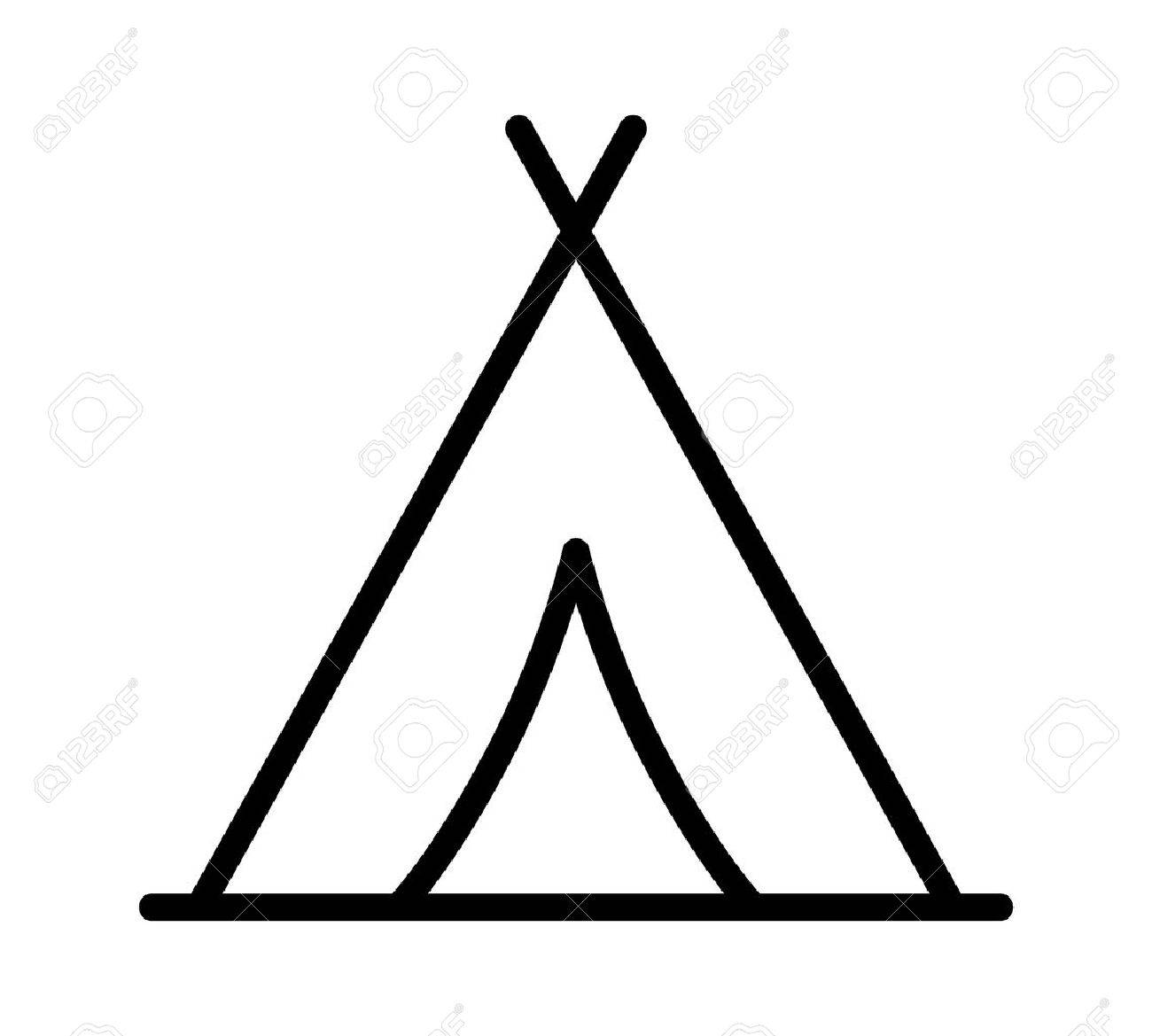 Camping tent at outdoor camp or tipi / teepee line art icon for...