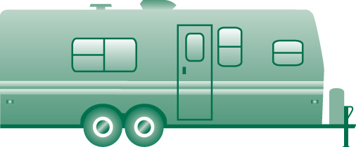 Camping Trailer by River Clip Art.