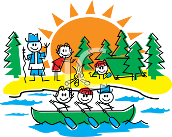 Royalty Free Clipart Image of a Stick Family on a Camping Trip.