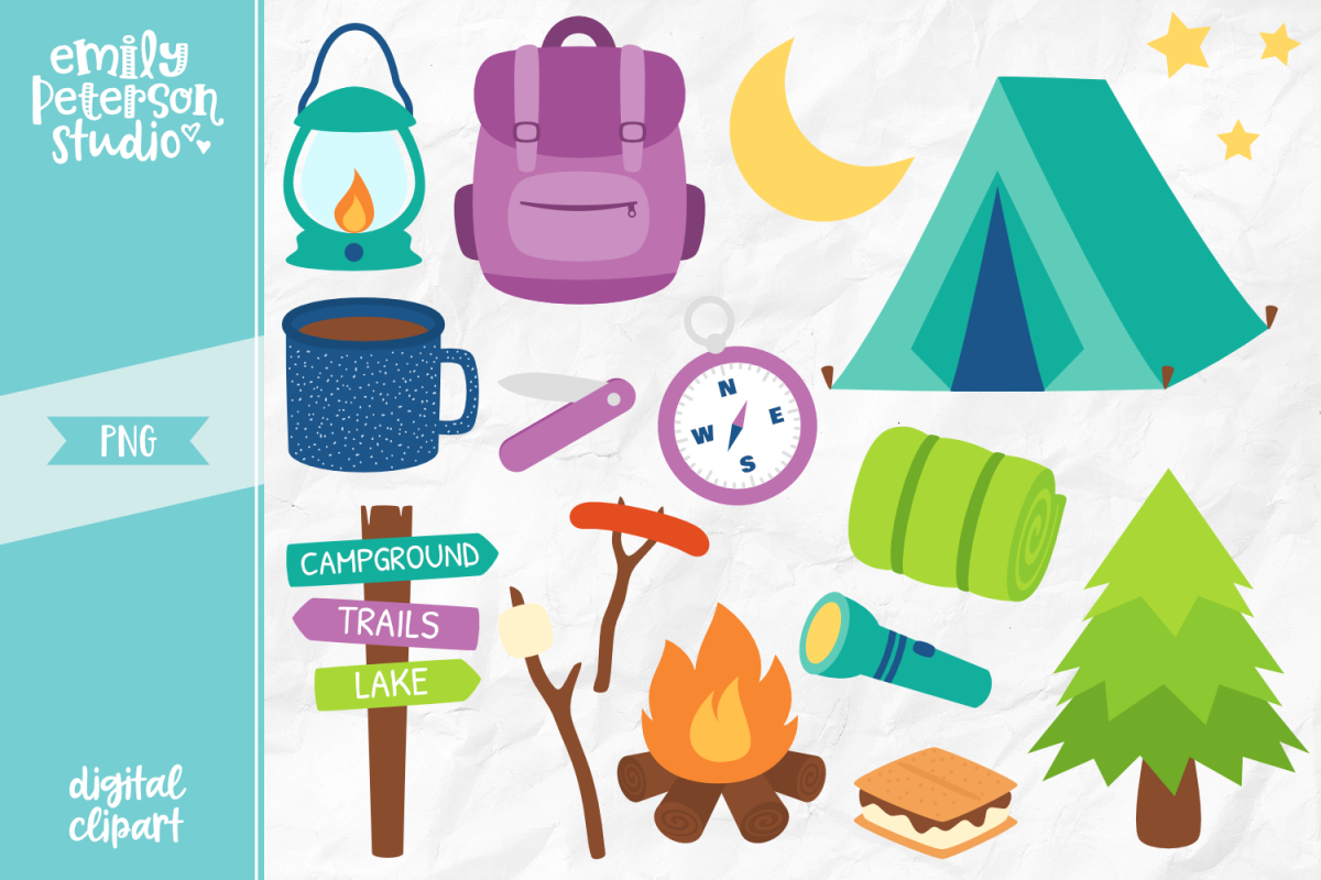 Camping Trip Clipart Illustration PNG.