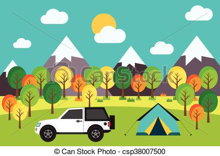 Outdoor camping trip in the forest flat design vector illustration.