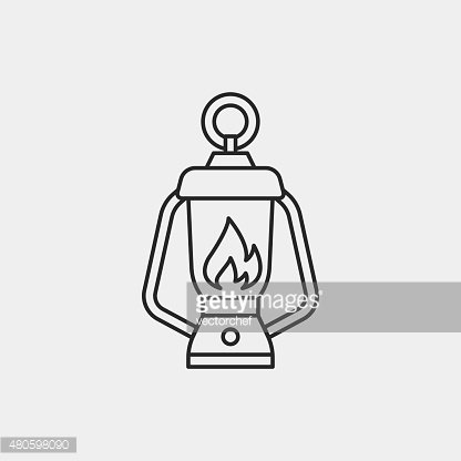camp light line icon Clipart Image.