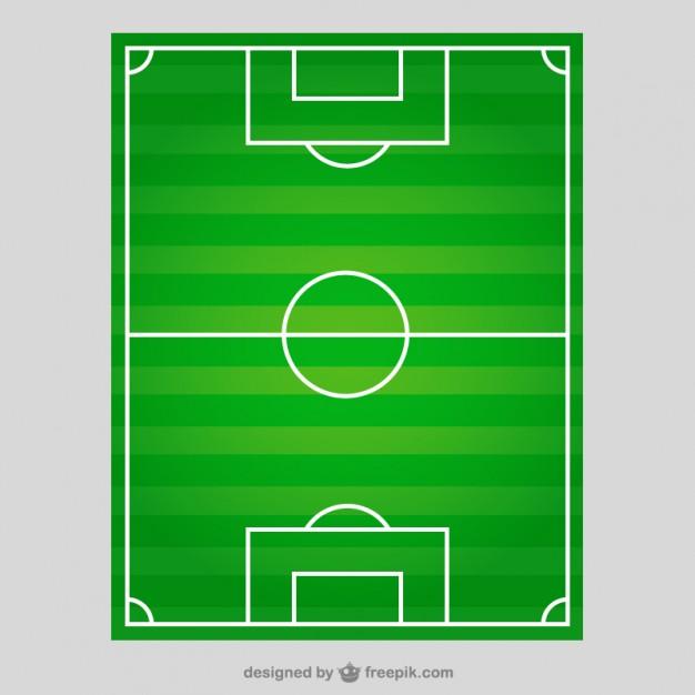 Campo de futebol em vista de cima.