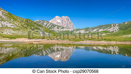 Stock Image of Gran Sasso mountain summit at Campo Imperatore.