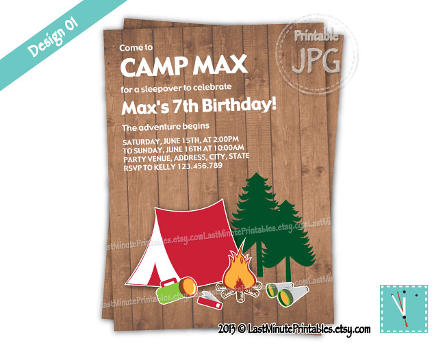 USD 6.99, campout, camp, birthday, party, printable, invit….