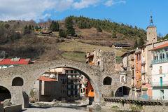 Mountain River Medieval Arched Bridge Pyrenees Stock Photos.